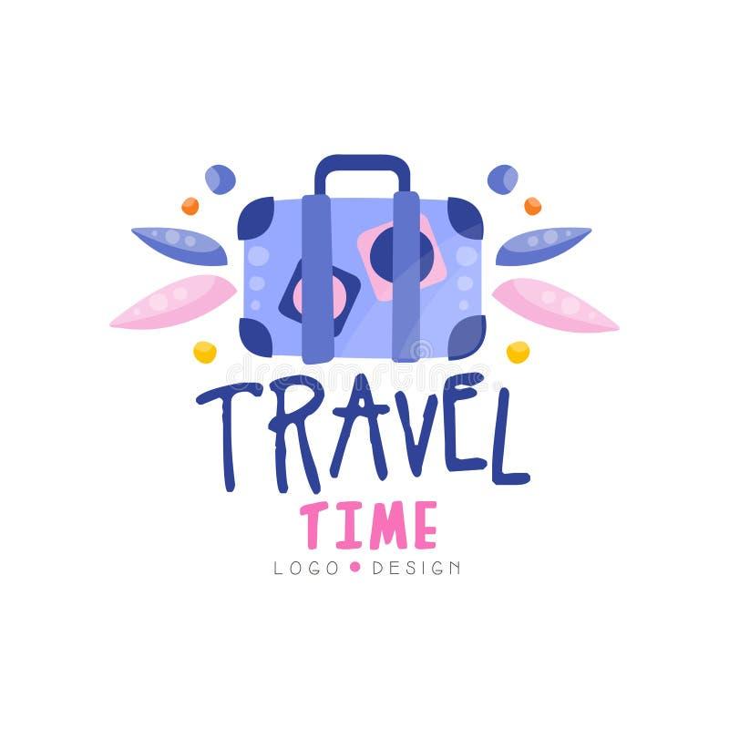Σχέδιο χρονικών λογότυπων ταξιδιού, θερινές διακοπές, γύρος Σαββατοκύριακου, περιπέτειες, τουριστών διανυσματική απεικόνιση ετικε διανυσματική απεικόνιση