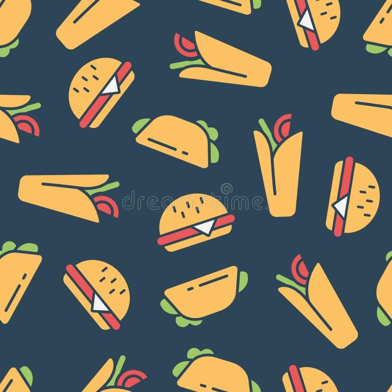 E Σχέδιο χρώματος με τα burgers απεικόνιση αποθεμάτων