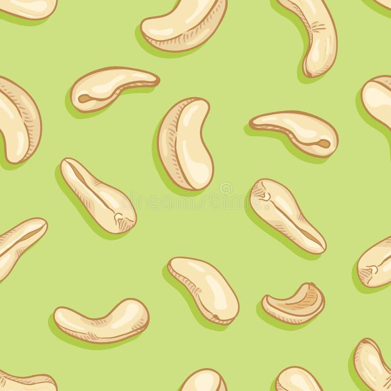 Σχέδιο χωρίς ραφή διανύσματος των καρυδιών Cashew ελεύθερη απεικόνιση δικαιώματος