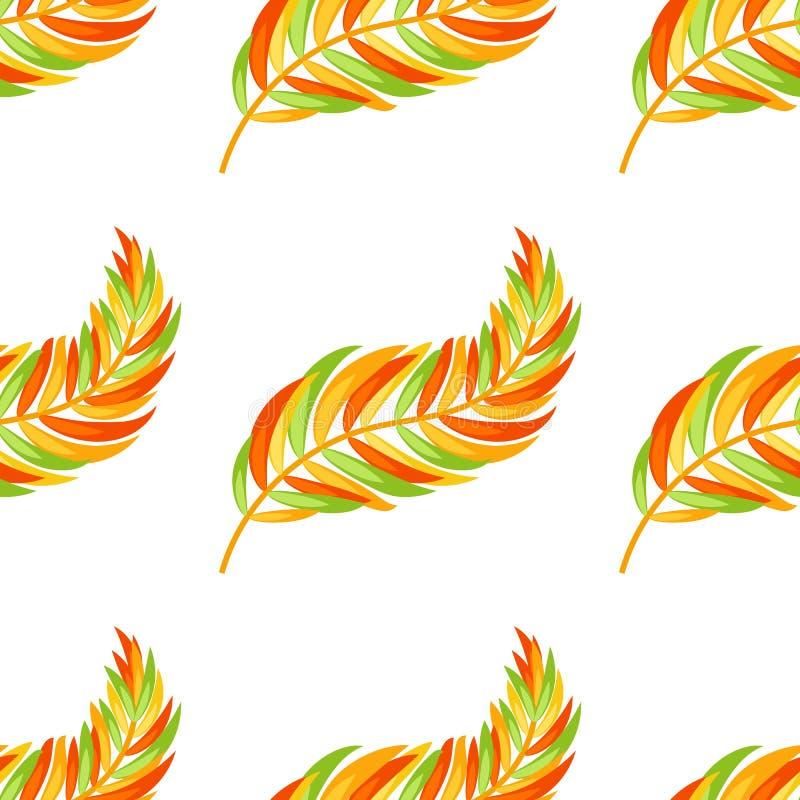 Σχέδιο χωρίς ραφή χρώματος επίπεδου αφηρημένου απομονωμένου φύλλου πορτοκαλιού με διαφορετικές κατευθύνσεις διανυσματική απεικόνιση