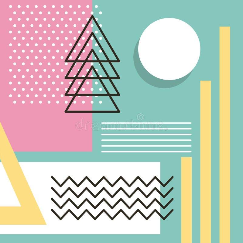 Σχέδιο ύφους της Μέμφιδας που επαναλαμβάνει το γεωμετρικό χρώμα κρητιδογραφιών μορφής ελεύθερη απεικόνιση δικαιώματος