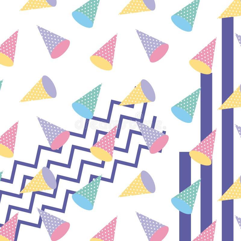 Σχέδιο ύφους της Μέμφιδας που επαναλαμβάνει το γεωμετρικό χρώμα κρητιδογραφιών μορφής διανυσματική απεικόνιση