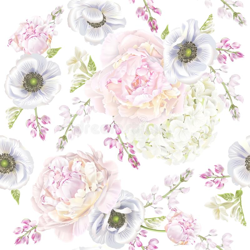 Σχέδιο anemone Peont διανυσματική απεικόνιση