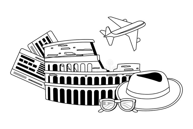 Σχέδιο coliseum της Ρώμης διανυσματική απεικόνιση