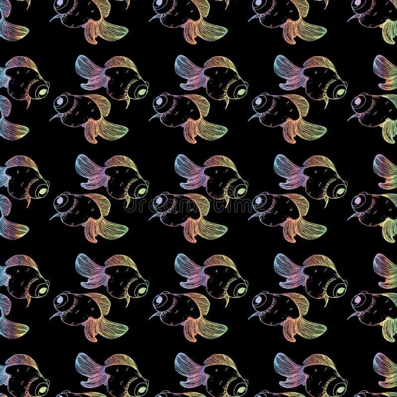 Σχέδιο Goldfish στο μαύρο υπόβαθρο με την κλίση διανυσματική απεικόνιση