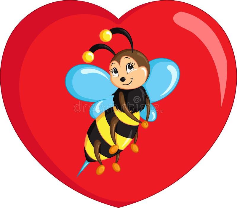 Σχέδιο kawaii χρώματος μιας μικρής μέλισσας σε μια καρδιά για το βιβλίο χρωματισμού των παιδιών ή την κάρτα ημέρας του βαλεντίνου απεικόνιση αποθεμάτων