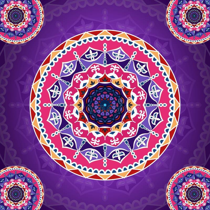 Σχέδιο Mandala στο πορφυρό φανταχτερό υπόβαθρο διανυσματική απεικόνιση