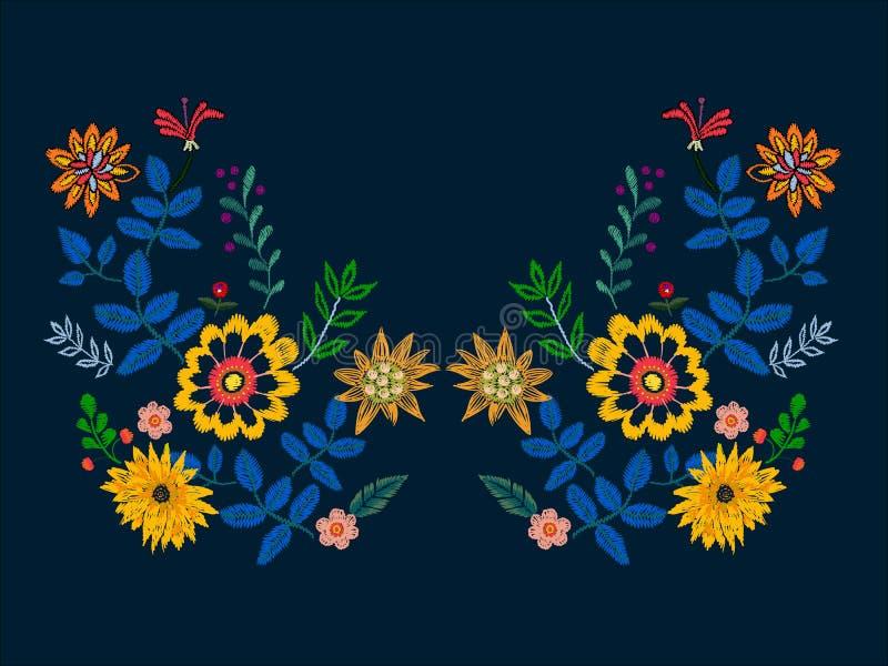 Σχέδιο neckline κεντητικής με τα εθνικά λουλούδια ελεύθερη απεικόνιση δικαιώματος