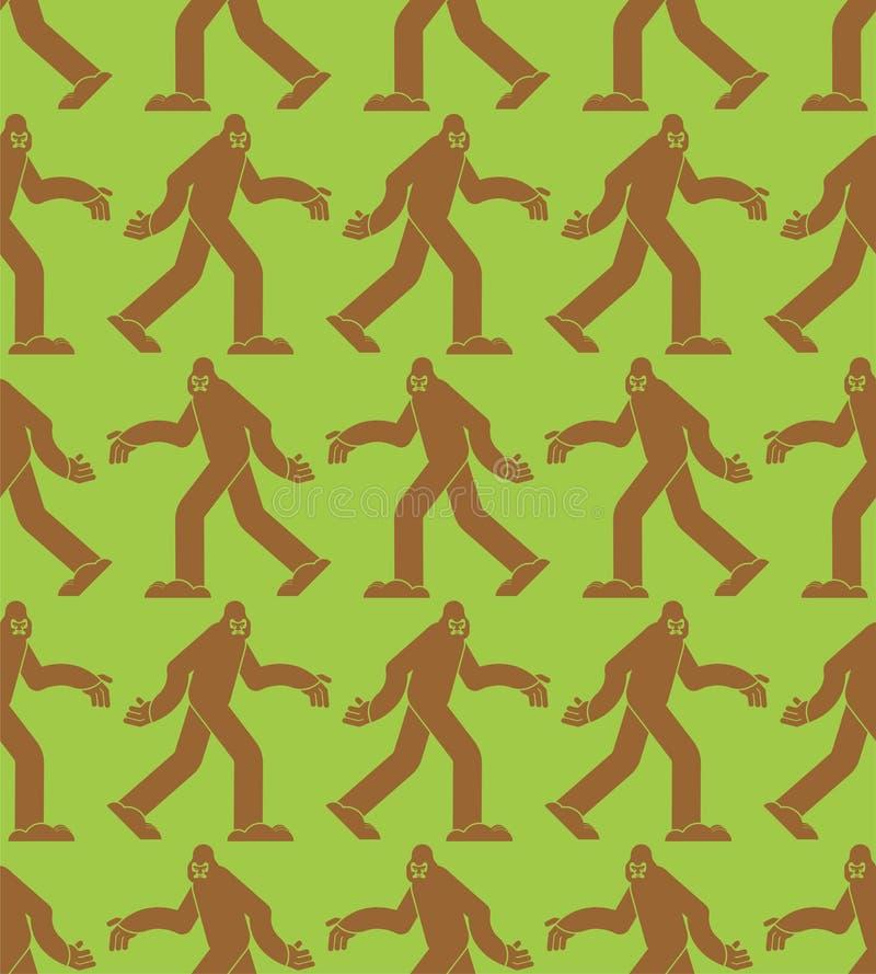 Σχέδιο Sasquatch άνευ ραφής Υπόβαθρο Bigfoot Αποτρόπαια διακόσμηση χιονανθρώπων Σύσταση Yeti απεικόνιση αποθεμάτων