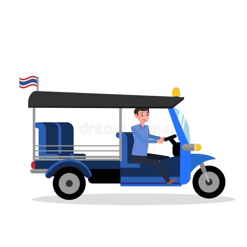Σχέδιο TukThailand Tuk με τον οδηγό και το απομονωμένο λευκό διάνυσμα υποβάθρου ελεύθερη απεικόνιση δικαιώματος