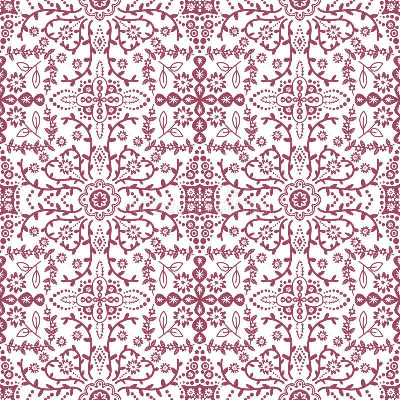 Σχέδιο Vectorseamless με το τυποποιημένο υπόβαθρο σχεδίων λουλουδιών περίκομψο άνευ ραφής ελεύθερη απεικόνιση δικαιώματος