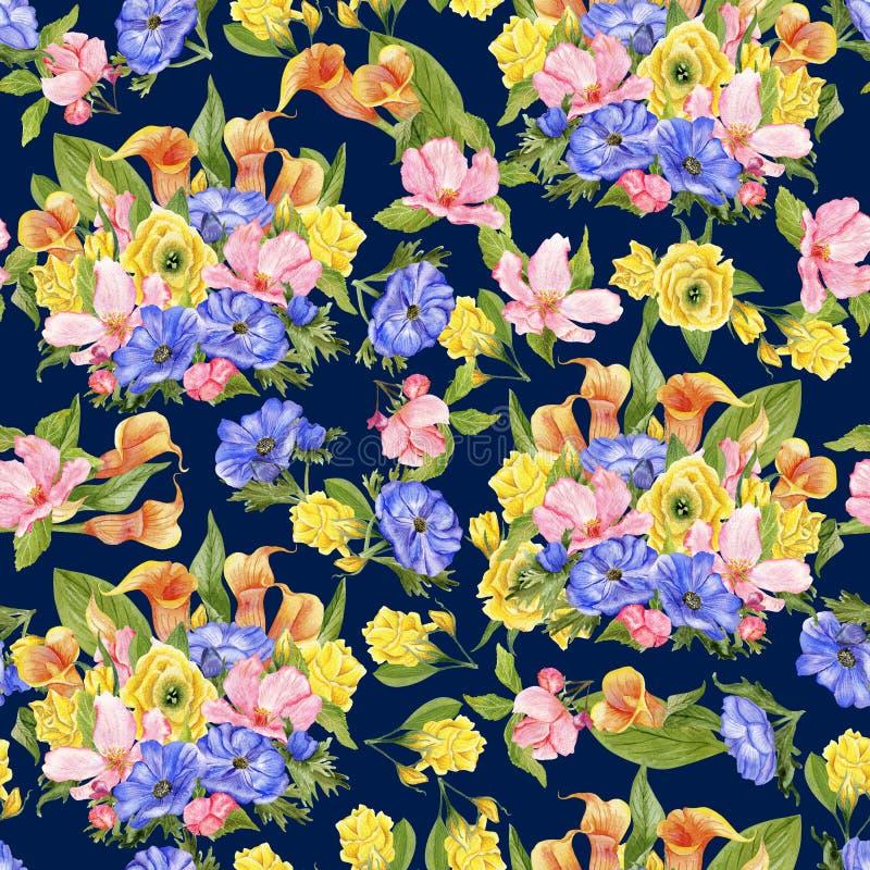 Σχέδιο Watercolor με τις ανθοδέσμες σε σκούρο μπλε διανυσματική απεικόνιση