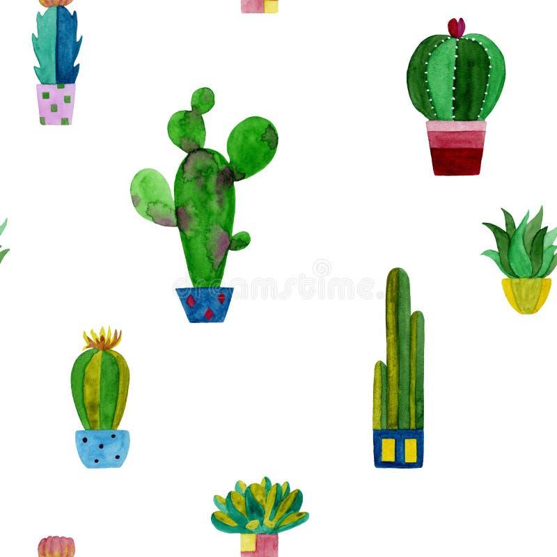 Σχέδιο Watercolor των κάκτων και succulents των λουλουδιών απεικόνιση αποθεμάτων