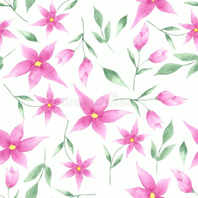Σχέδιο Watercolor των ρόδινων και μπλε λουλουδιών, των τουλιπών και των φύλλων ελεύθερη απεικόνιση δικαιώματος