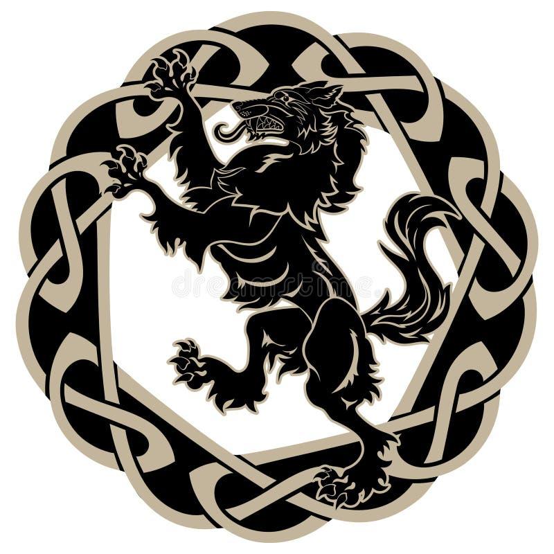 Σχέδιο Werewolf και κελτικός-Σκανδιναβική διακόσμηση διανυσματική απεικόνιση