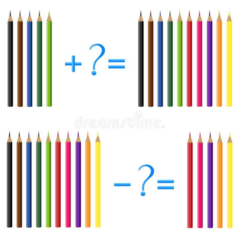 Σχέση δράσης της προσθήκης και της αφαίρεσης, παραδείγματα με τα μολύβια Εκπαιδευτικά παιχνίδια για τα παιδιά διανυσματική απεικόνιση