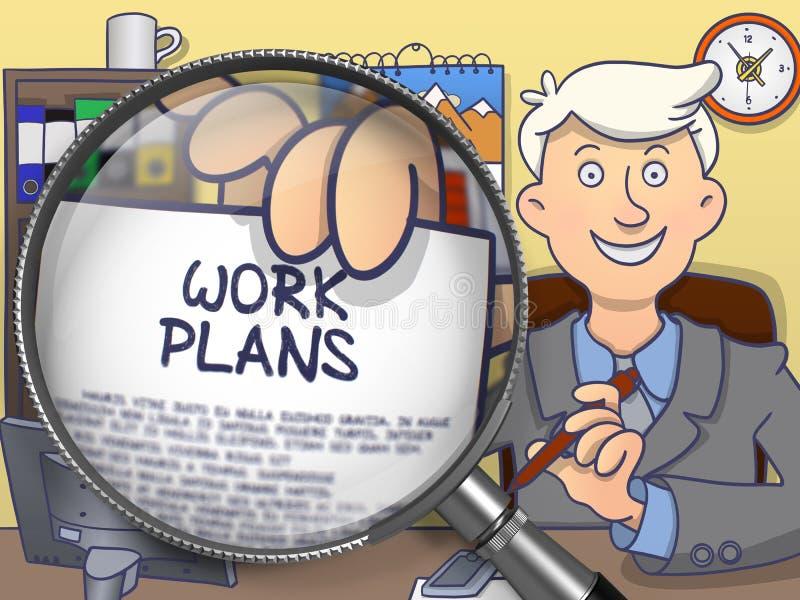 Σχέδια εργασίας μέσω της ενίσχυσης - γυαλί Έννοια Doodle ελεύθερη απεικόνιση δικαιώματος