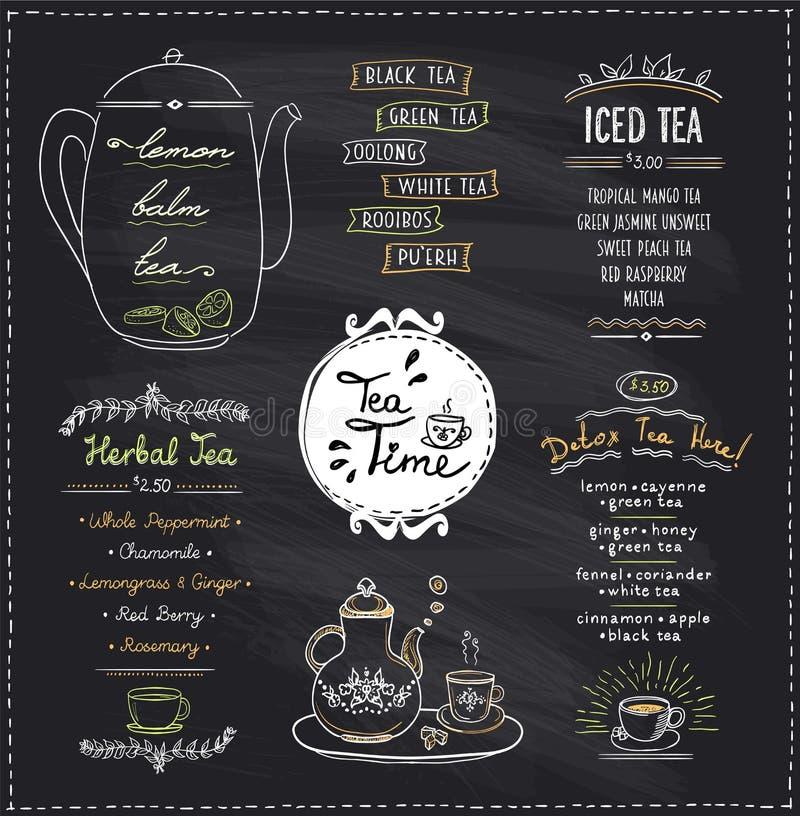 Σχέδια καταλόγων χρονικών επιλογών τσαγιού πινάκων κιμωλίας που τίθενται για τον καφέ ή το εστιατόριο απεικόνιση αποθεμάτων