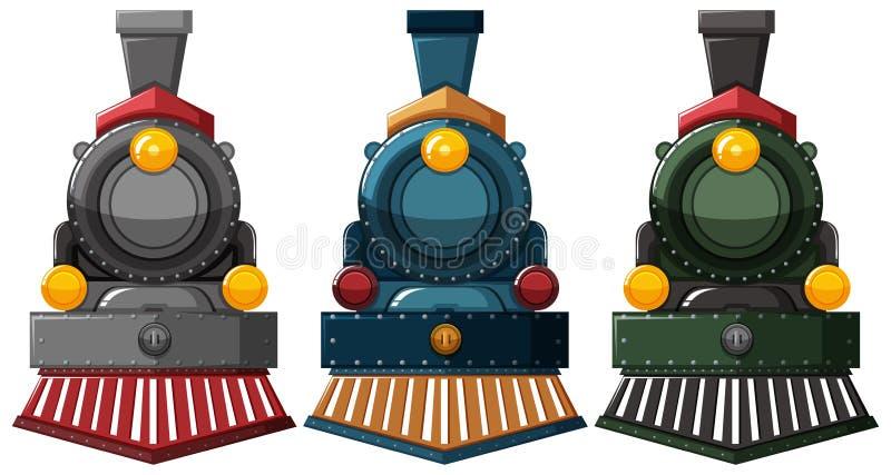 Σχέδια μηχανών ατμού σε τρία χρώματα απεικόνιση αποθεμάτων