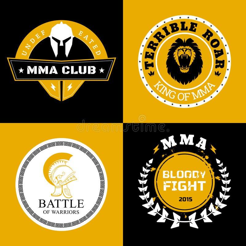 Σχέδια λογότυπων ή διακριτικών μάχης MMA διανυσματική απεικόνιση