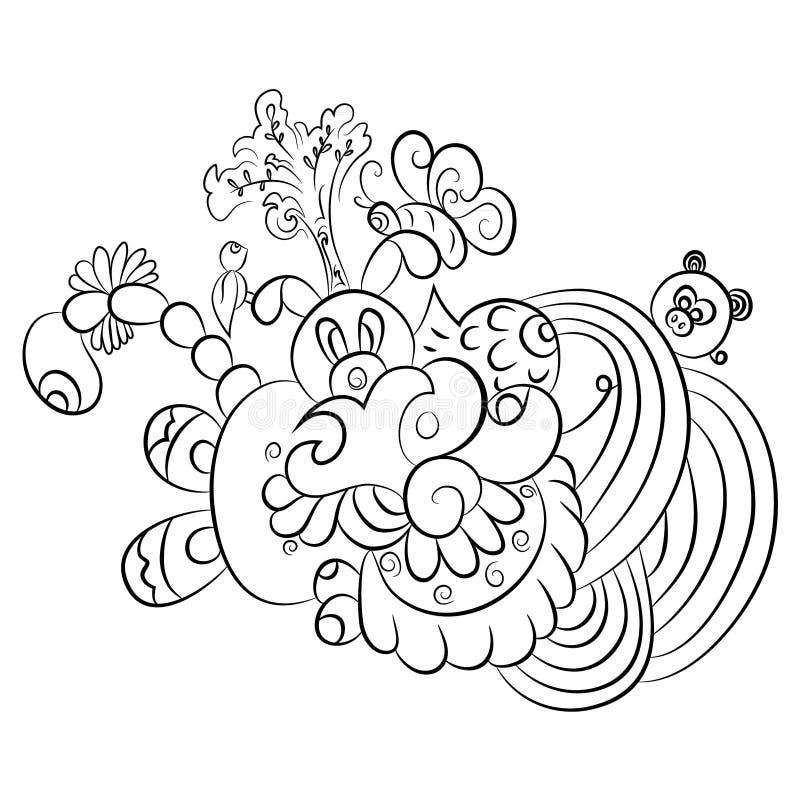 Σχέδια σε γραπτό Σελίδα για το χρωματισμό του βιβλίου απεικόνιση αποθεμάτων