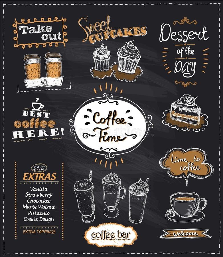 Σχέδια χρονικών πινάκων κιμωλίας καφέ που τίθενται για τον καφέ ή το εστιατόριο διανυσματική απεικόνιση