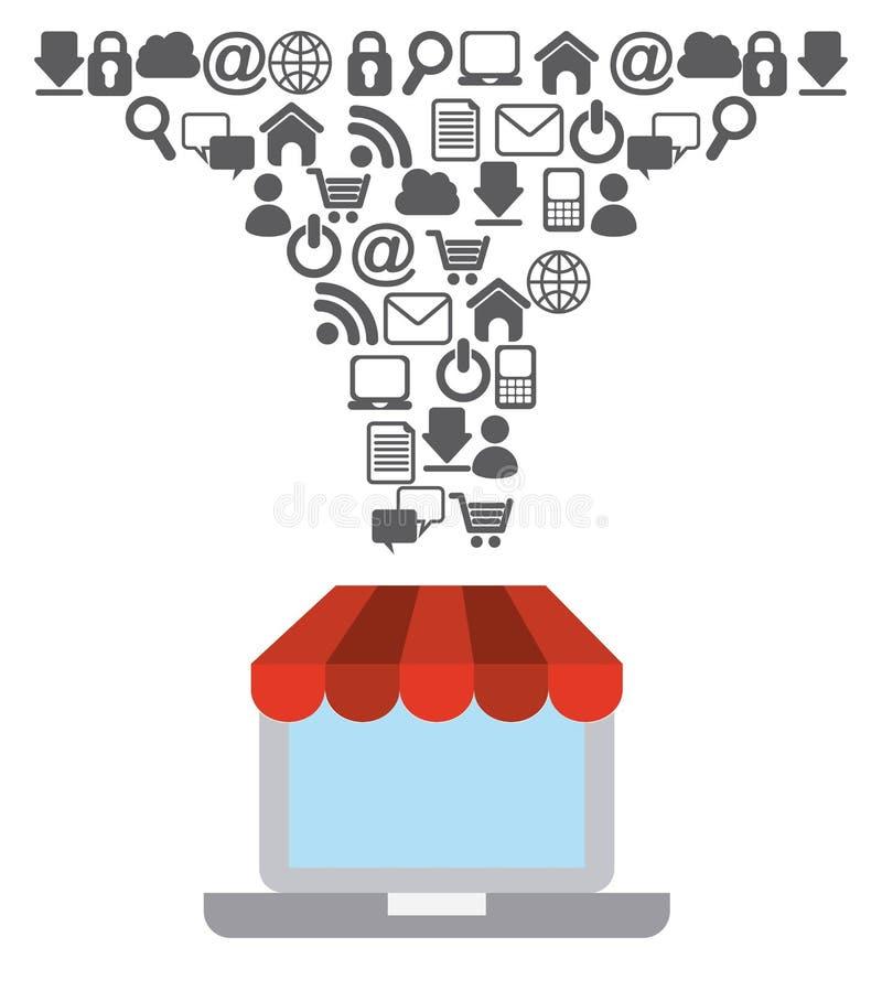 Σχέδιο έννοιας ηλεκτρονικού εμπορίου ελεύθερη απεικόνιση δικαιώματος