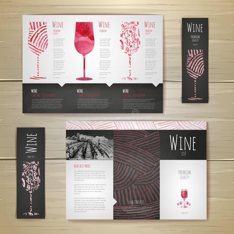 Σχέδιο έννοιας κρασιού Watercolor διάνυσμα προτύπων επιχειρησιακής εταιρικό ταυτότητας έργων τέχνης απεικόνιση αποθεμάτων