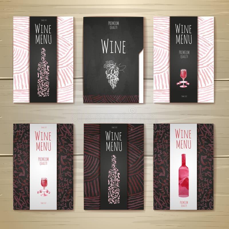 Σχέδιο έννοιας κρασιού Watercolor διάνυσμα προτύπων επιχειρησιακής εταιρικό ταυτότητας έργων τέχνης διανυσματική απεικόνιση