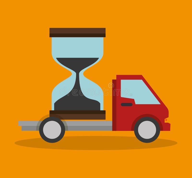 σχέδιο έννοιας παράδοσης ρολογιών άμμου φορτηγών απεικόνιση αποθεμάτων