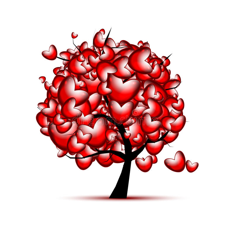 Σχέδιο δέντρων αγάπης με τις κόκκινες καρδιές για την ημέρα βαλεντίνων ελεύθερη απεικόνιση δικαιώματος
