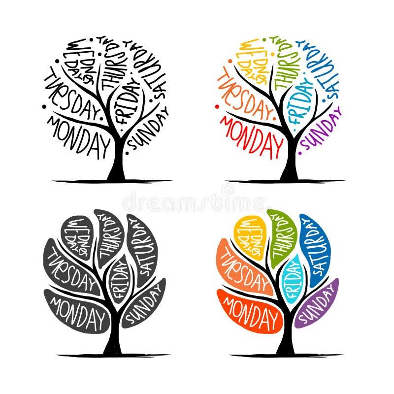 Σχέδιο δέντρων τέχνης με 7 ημέρες πετάλων της εβδομάδας διανυσματική απεικόνιση