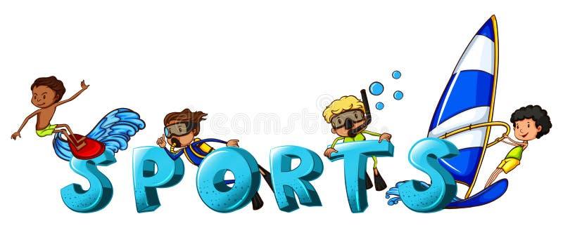 Σχέδιο λέξης για τον αθλητισμό λέξης διανυσματική απεικόνιση