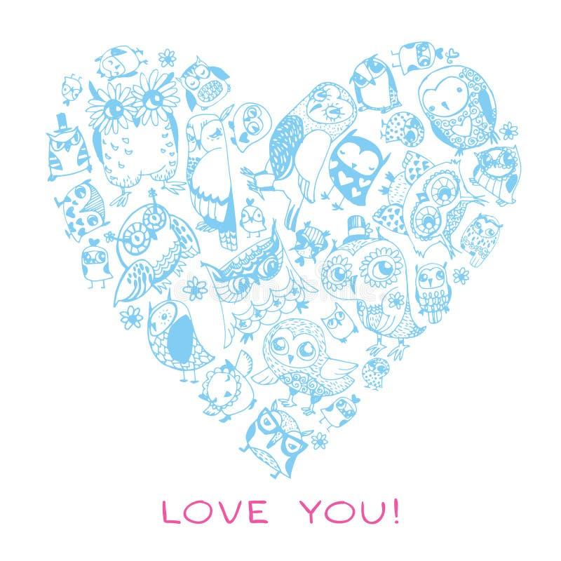 Σχέδιο αγάπης καρδιών με τις κουκουβάγιες. διανυσματική απεικόνιση