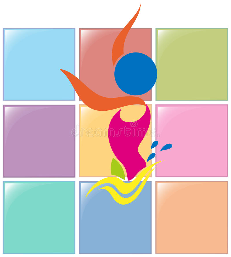 Σχέδιο αθλητικών εικονιδίων για τη συγχρονισμένη κολύμβηση ελεύθερη απεικόνιση δικαιώματος