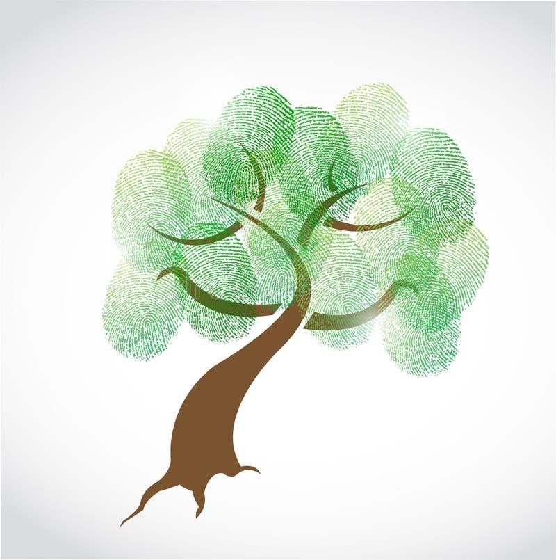 Σχέδιο απεικόνισης δακτυλικών αποτυπωμάτων οικογενειακών δέντρων ελεύθερη απεικόνιση δικαιώματος