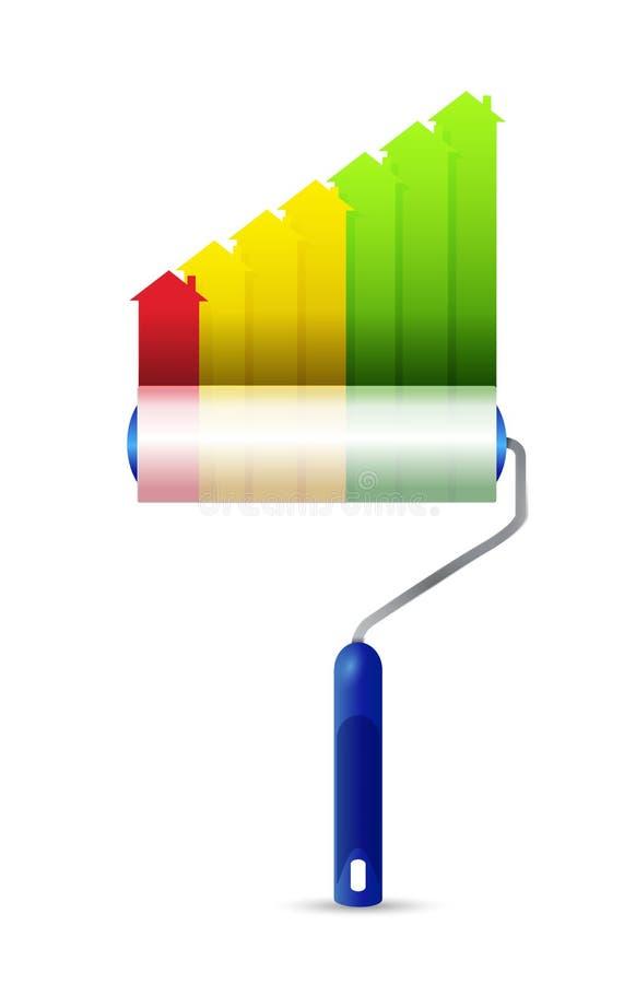 Σχέδιο απεικόνισης γραφικών παραστάσεων ακίνητων περιουσιών κυλίνδρων χρωμάτων απεικόνιση αποθεμάτων