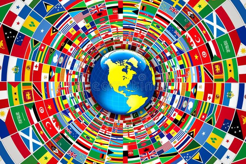 Παγκόσμιες σημαίες ελεύθερη απεικόνιση δικαιώματος