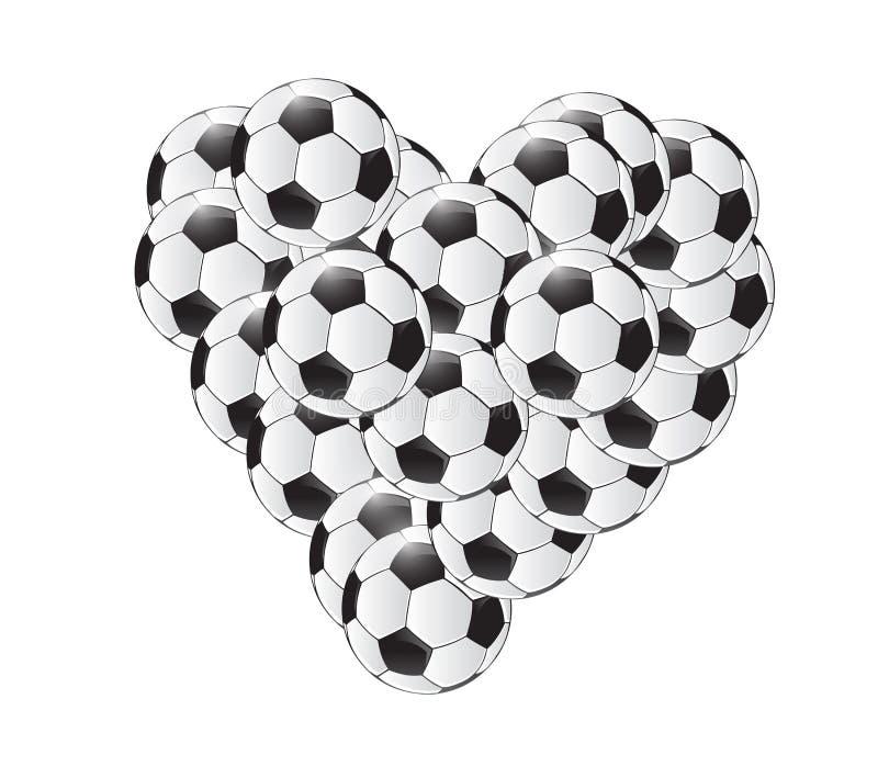 Σχέδιο απεικόνισης καρδιών σφαιρών ποδοσφαίρου απεικόνιση αποθεμάτων