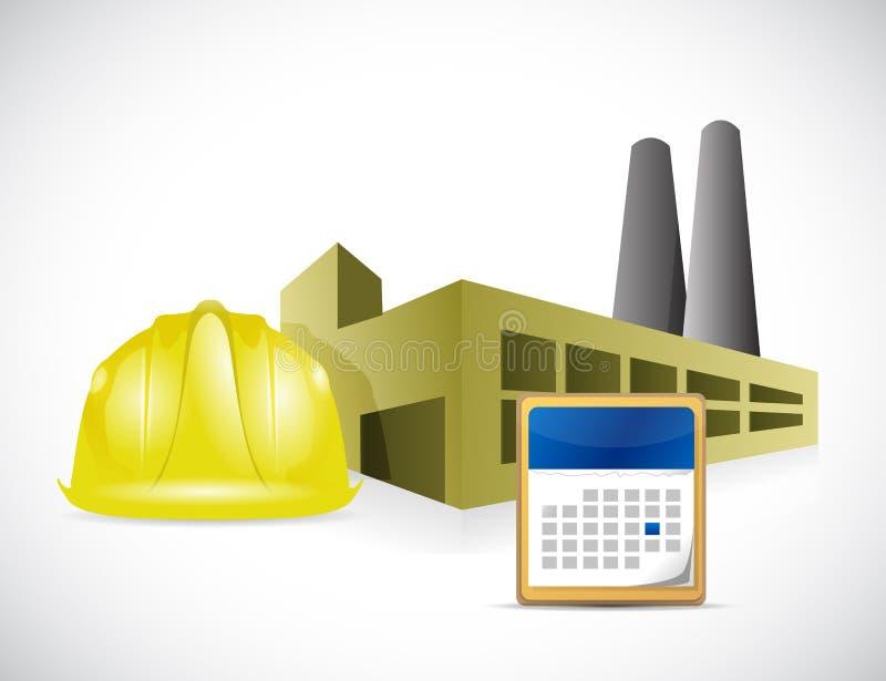 Σχέδιο απεικόνισης κρανών και ημερολογίων εργοστασίων απεικόνιση αποθεμάτων