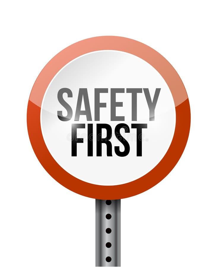 Σχέδιο απεικόνισης οδικών σημαδιών ασφάλειας πρώτο ελεύθερη απεικόνιση δικαιώματος