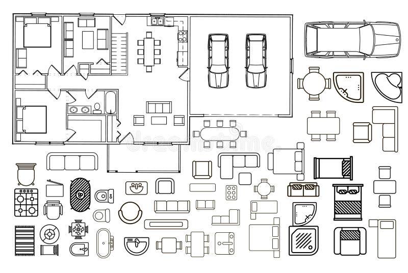 Σχέδιο αρχιτεκτονικής με τα έπιπλα κατά τη τοπ άποψη απεικόνιση αποθεμάτων