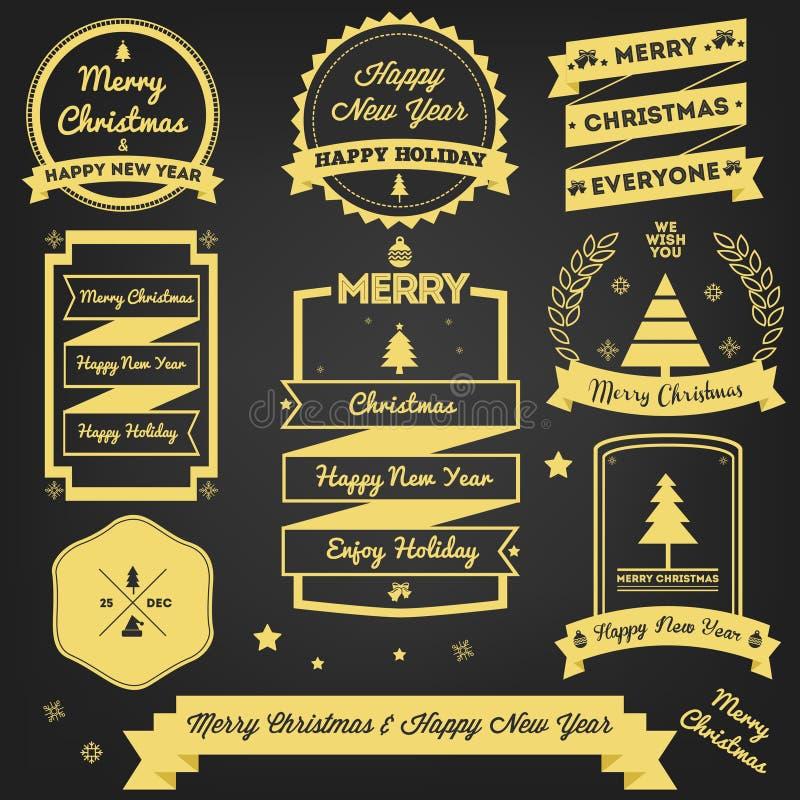Σχέδιο ασφαλίστρου ετικετών χαιρετισμού Χριστουγέννων διανυσματική απεικόνιση