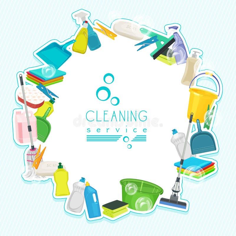 Σχέδιο αφισών για την καθαρίζοντας υπηρεσία και τις καθαρίζοντας προμήθειες ελεύθερη απεικόνιση δικαιώματος