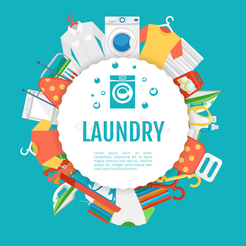 Σχέδιο αφισών υπηρεσιών πλυντηρίων Ετικέτα κύκλων εικονιδίων με το κείμενο απεικόνιση αποθεμάτων
