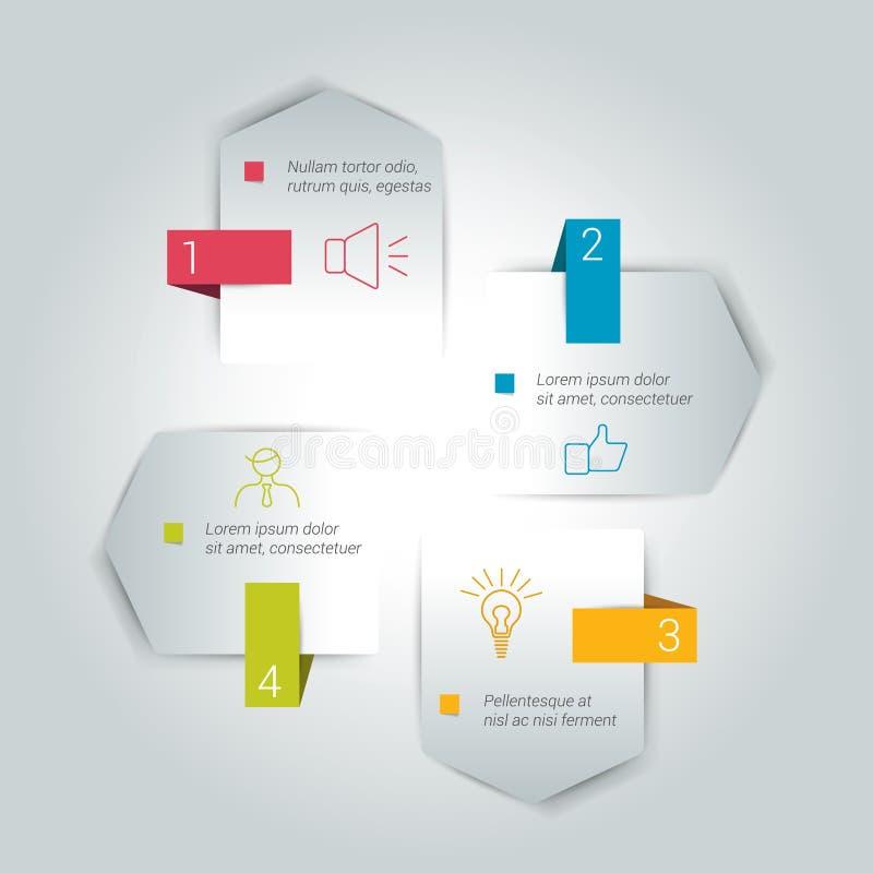 Σχέδιο βελών τεσσάρων βημάτων απεικόνιση αποθεμάτων