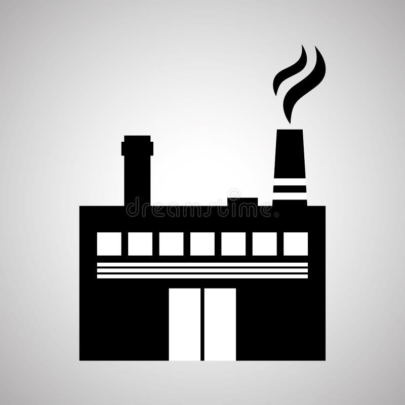 Σχέδιο βιομηχανίας, εγκαταστάσεις και έννοια εργοστασίων, editable διάνυσμα ελεύθερη απεικόνιση δικαιώματος