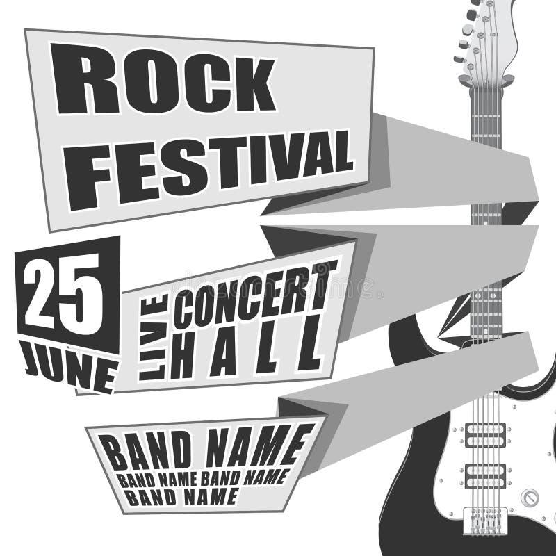 Σχέδιο γεγονότος φεστιβάλ βράχου έννοιας για το ιπτάμενο, αφίσα, πρόσκληση Διανυσματική ηλεκτρική κιθάρα απεικόνισης στην πλάτη διανυσματική απεικόνιση