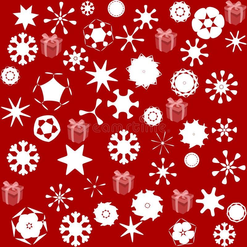 Σχέδιο για το τυλίγοντας έγγραφο και γεμισμένος με τα αστέρια και το χιόνι απεικόνιση αποθεμάτων