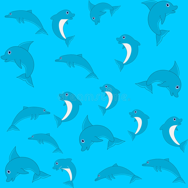 Σχέδιο για το τυλίγοντας έγγραφο και γεμισμένος με το δελφίνι διανυσματική απεικόνιση